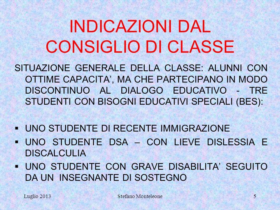 INDICAZIONI DAL CONSIGLIO DI CLASSE