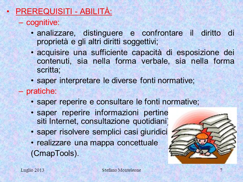 PREREQUISITI - ABILITÀ: cognitive: