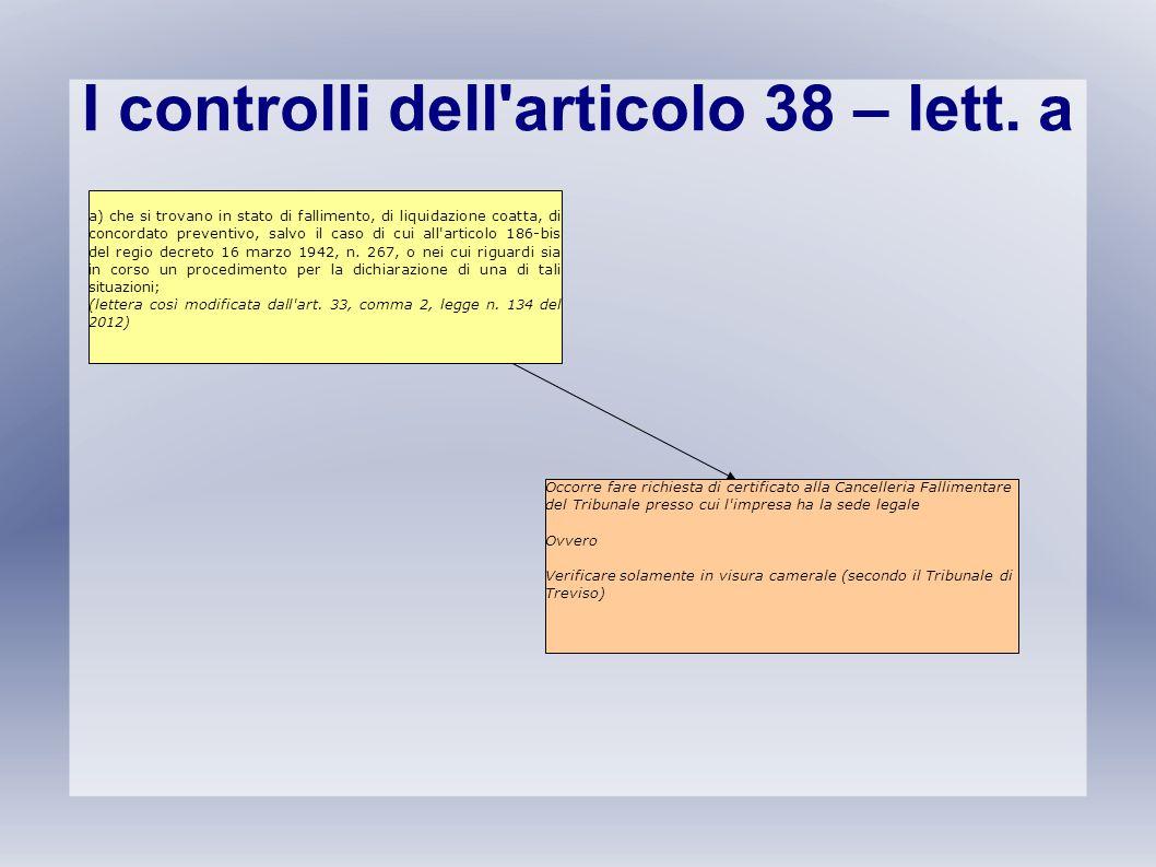 I controlli dell articolo 38 – lett. a