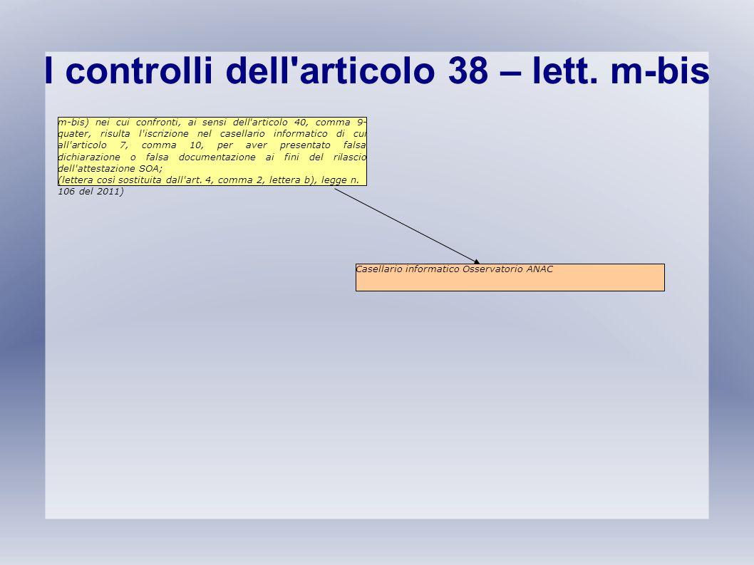 I controlli dell articolo 38 – lett. m-bis