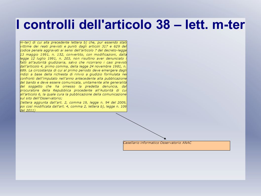 I controlli dell articolo 38 – lett. m-ter