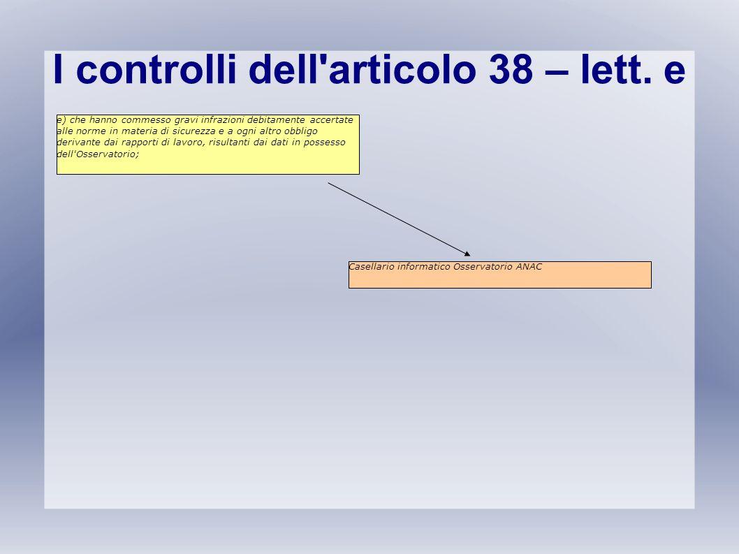 I controlli dell articolo 38 – lett. e