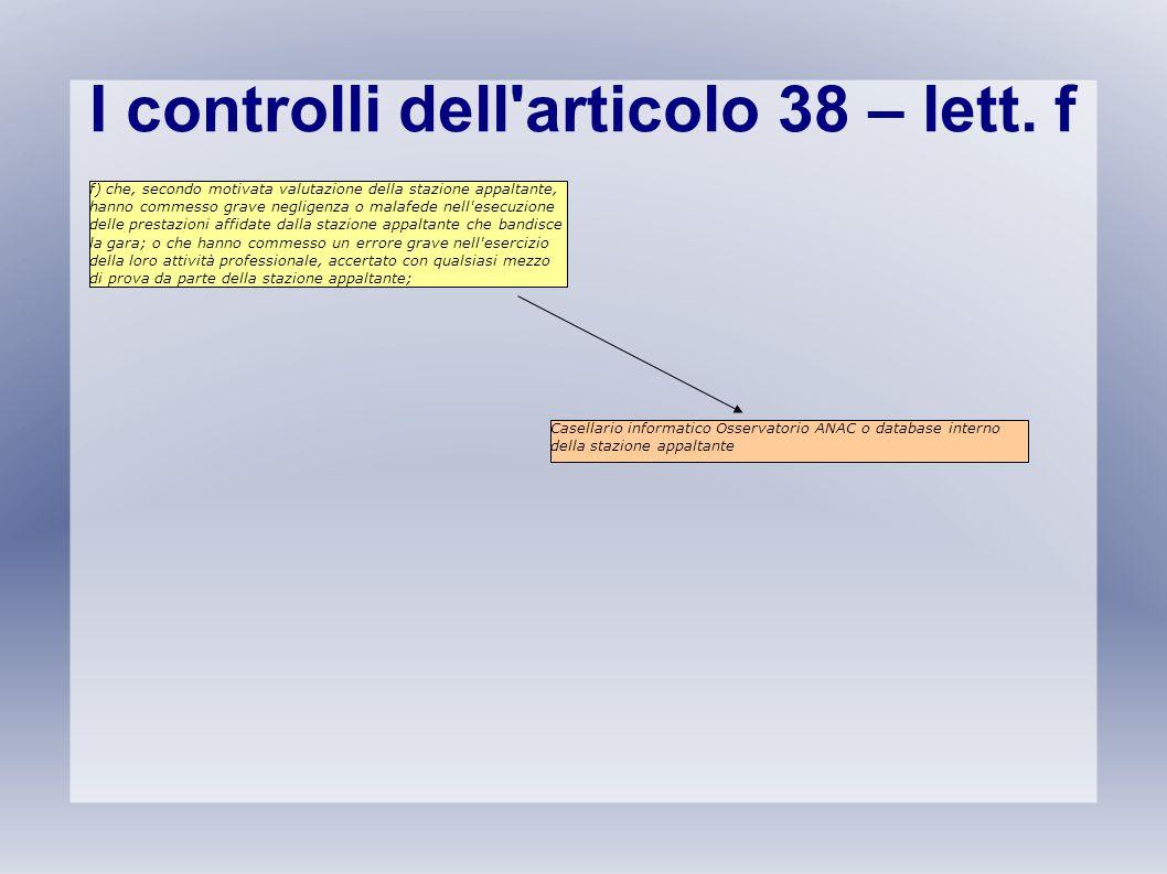 I controlli dell articolo 38 – lett. f