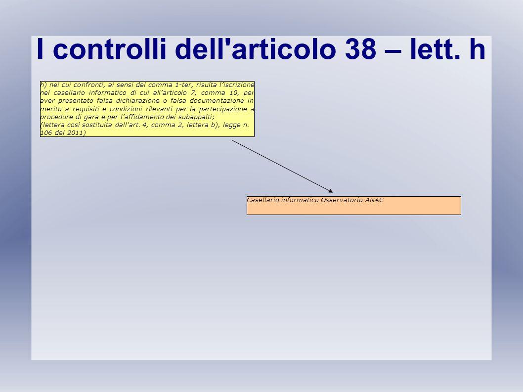 I controlli dell articolo 38 – lett. h