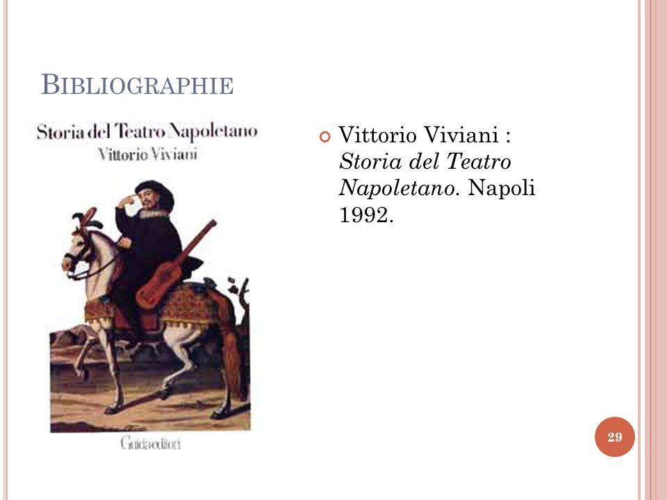 Bibliographie Vittorio Viviani : Storia del Teatro Napoletano. Napoli 1992.