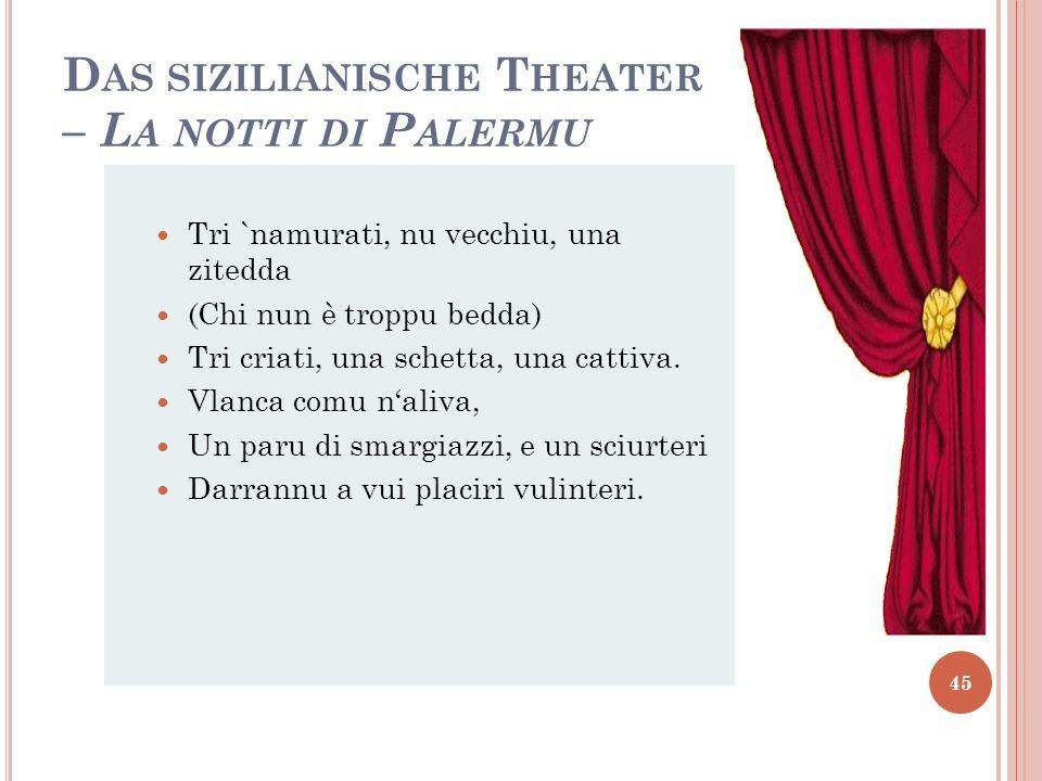 Das sizilianische Theater – La notti di Palermu