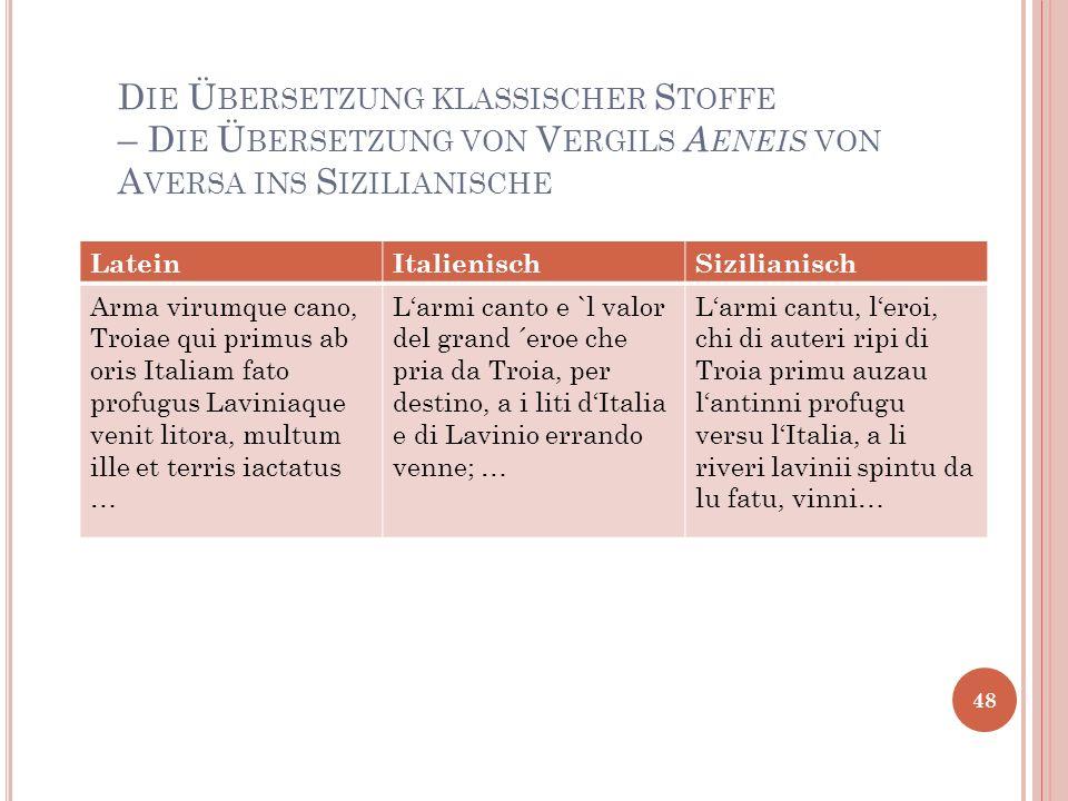 Die Übersetzung klassischer Stoffe – Die Übersetzung von Vergils Aeneis von Aversa ins Sizilianische