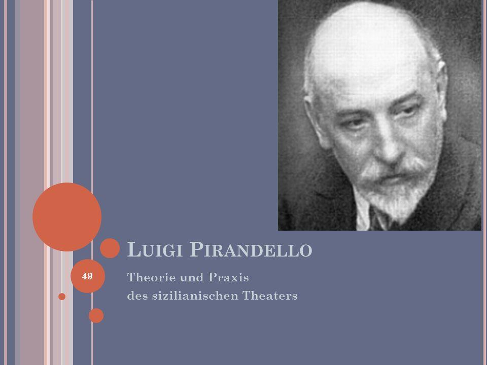 Luigi Pirandello Theorie und Praxis des sizilianischen Theaters