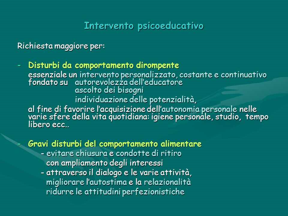 Intervento psicoeducativo