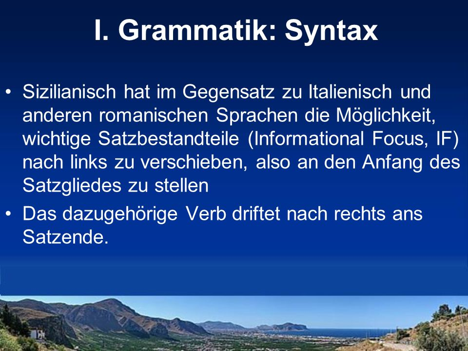 I. Grammatik: Syntax