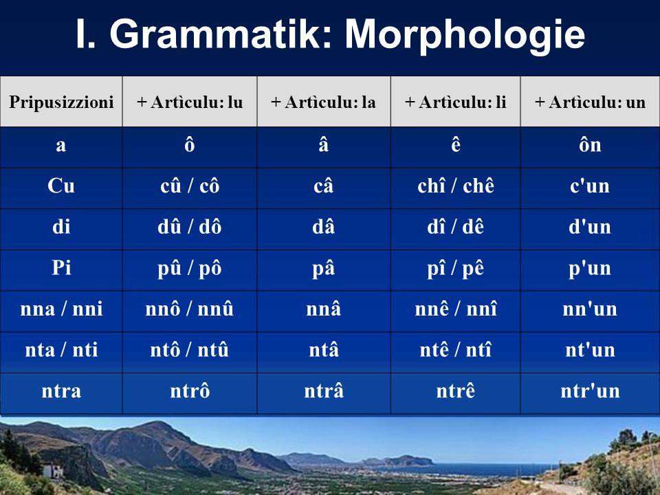 I. Grammatik: Morphologie