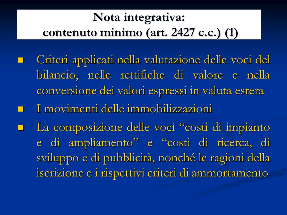 Nota integrativa: contenuto minimo (art. 2427 c.c.) (1)