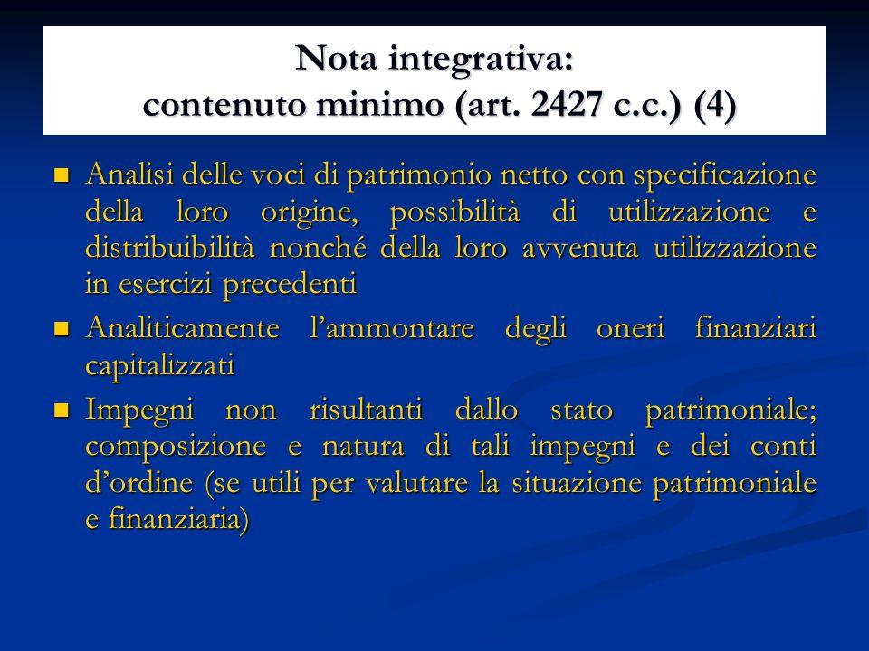 Nota integrativa: contenuto minimo (art. 2427 c.c.) (4)