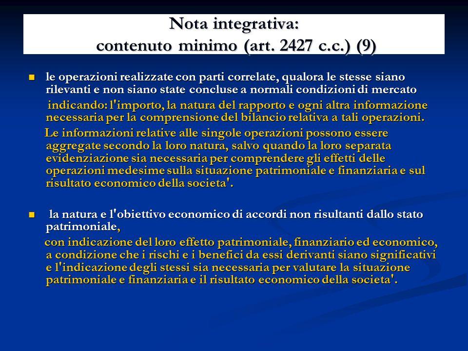 Nota integrativa: contenuto minimo (art. 2427 c.c.) (9)