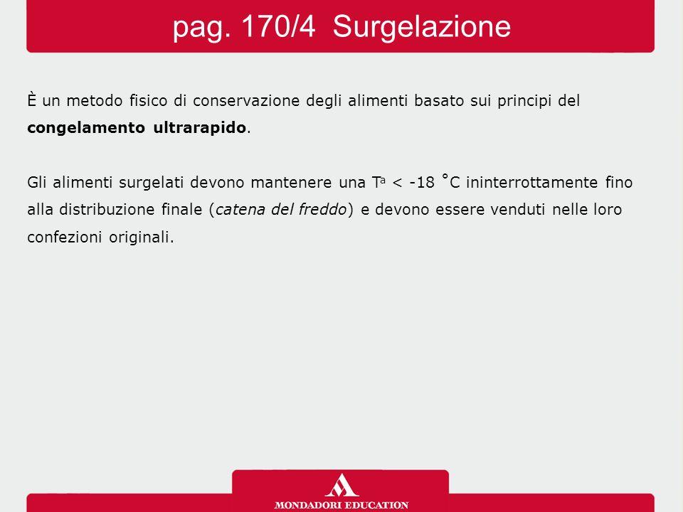 pag. 170/4 Surgelazione È un metodo fisico di conservazione degli alimenti basato sui principi del.