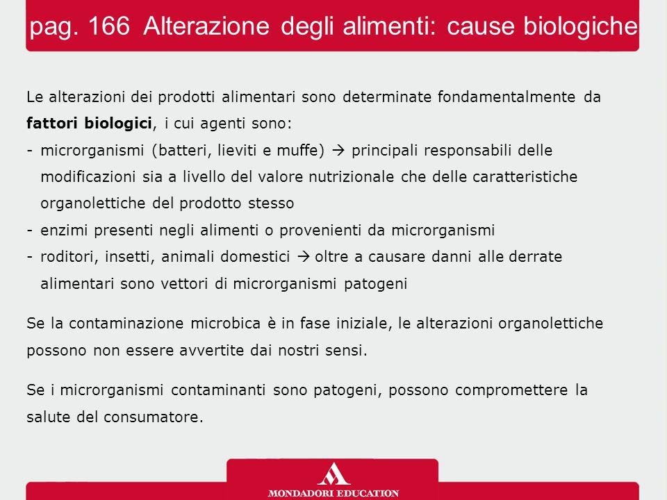 pag. 166 Alterazione degli alimenti: cause biologiche