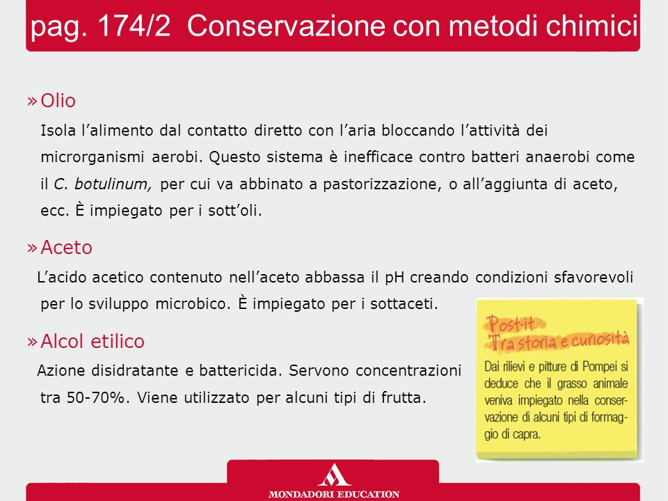 pag. 174/2 Conservazione con metodi chimici