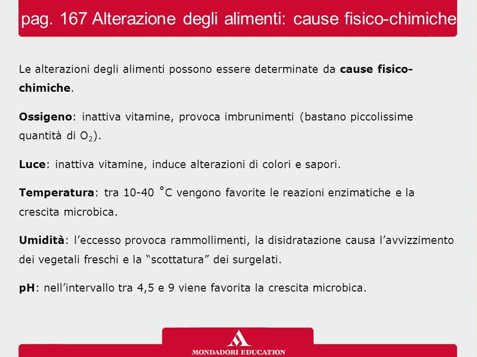 pag. 167 Alterazione degli alimenti: cause fisico-chimiche