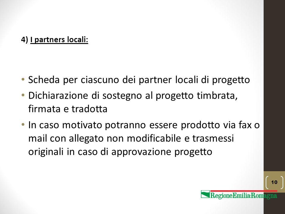 Scheda per ciascuno dei partner locali di progetto