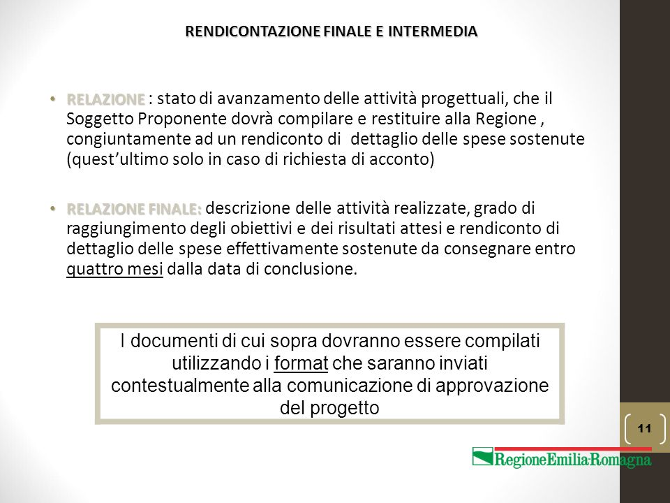 RENDICONTAZIONE FINALE E INTERMEDIA