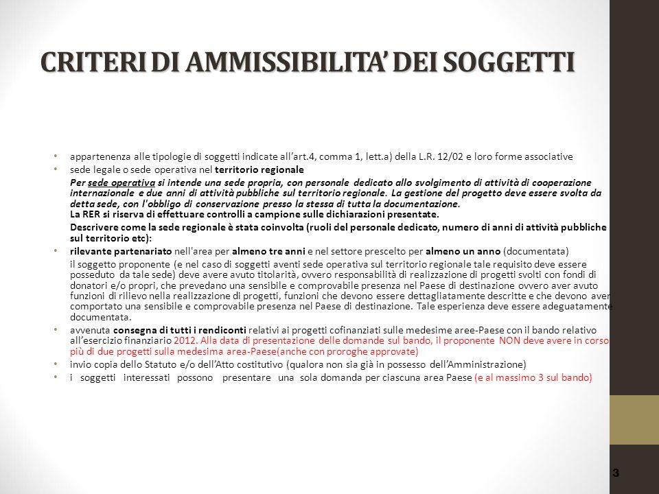 CRITERI DI AMMISSIBILITA' DEI SOGGETTI
