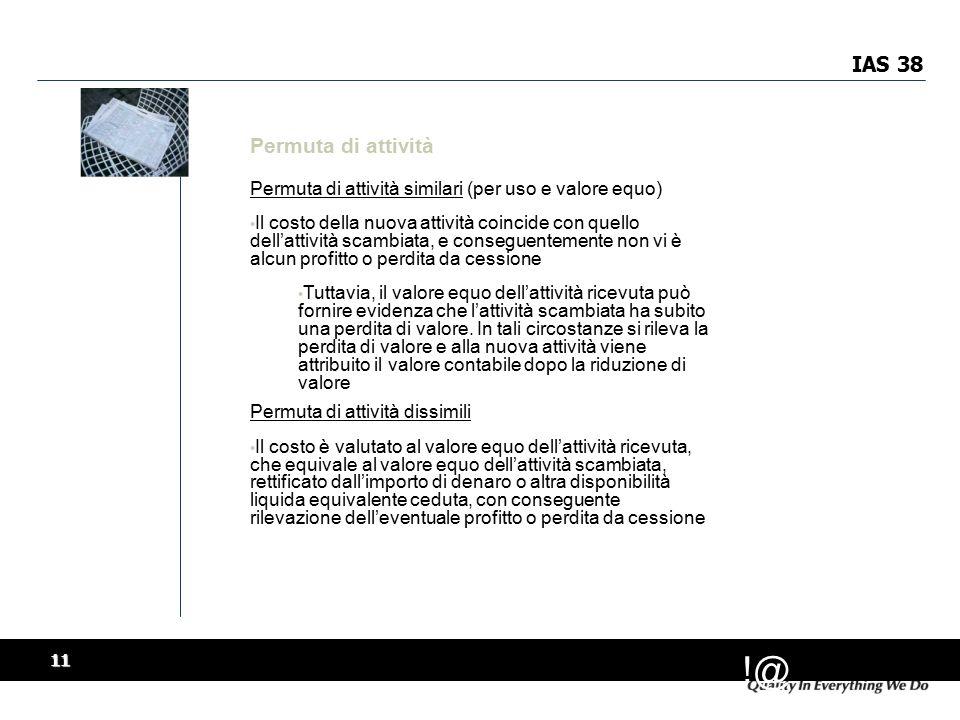 IAS 38 Permuta di attività