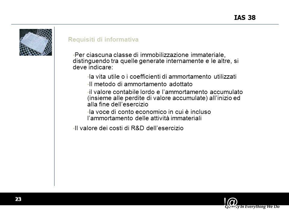 IAS 38 Requisiti di informativa.