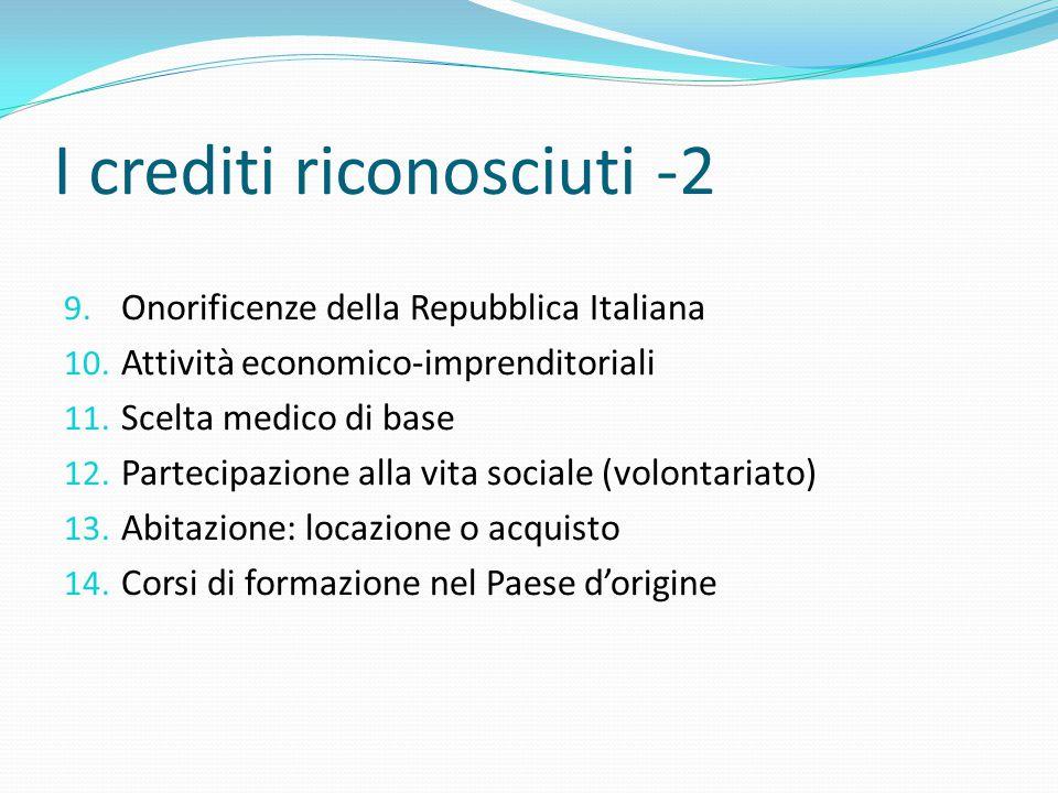 I crediti riconosciuti -2
