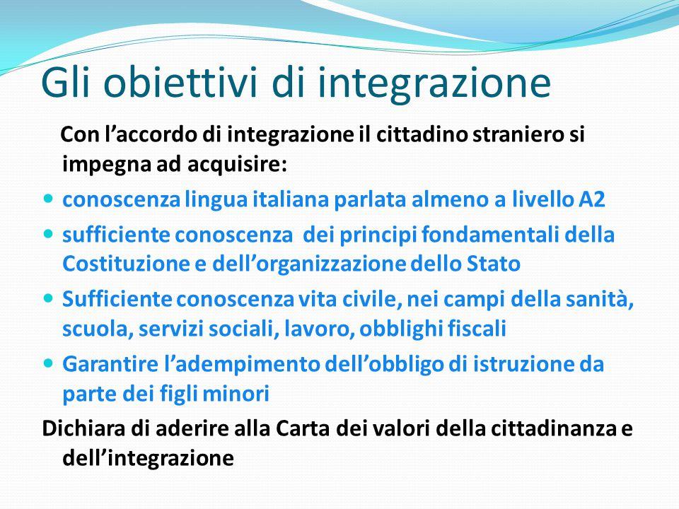 Gli obiettivi di integrazione