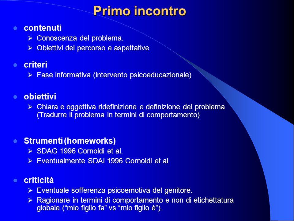 Primo incontro contenuti criteri obiettivi Strumenti (homeworks)