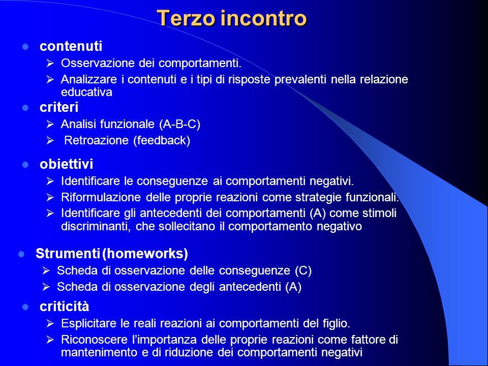 Terzo incontro contenuti criteri obiettivi Strumenti (homeworks)