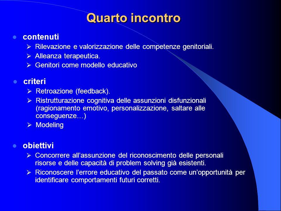 Quarto incontro contenuti criteri obiettivi