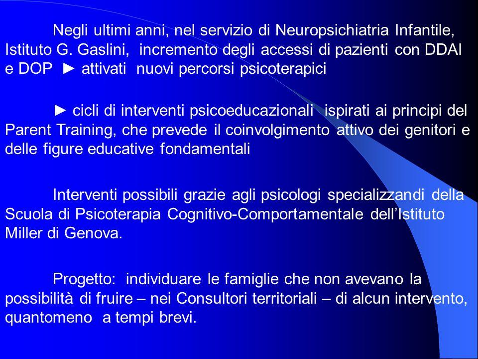 Negli ultimi anni, nel servizio di Neuropsichiatria Infantile, Istituto G. Gaslini, incremento degli accessi di pazienti con DDAI e DOP ► attivati nuovi percorsi psicoterapici