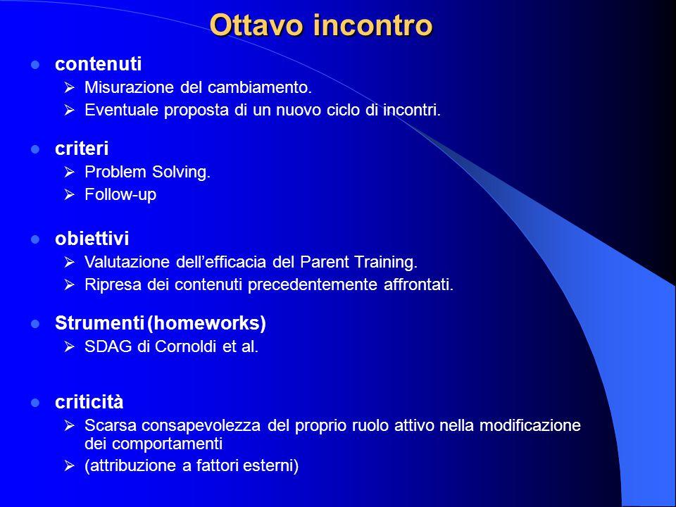 Ottavo incontro contenuti criteri obiettivi Strumenti (homeworks)