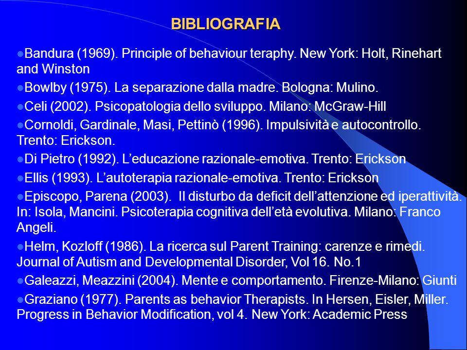 BIBLIOGRAFIA Bandura (1969). Principle of behaviour teraphy. New York: Holt, Rinehart and Winston.