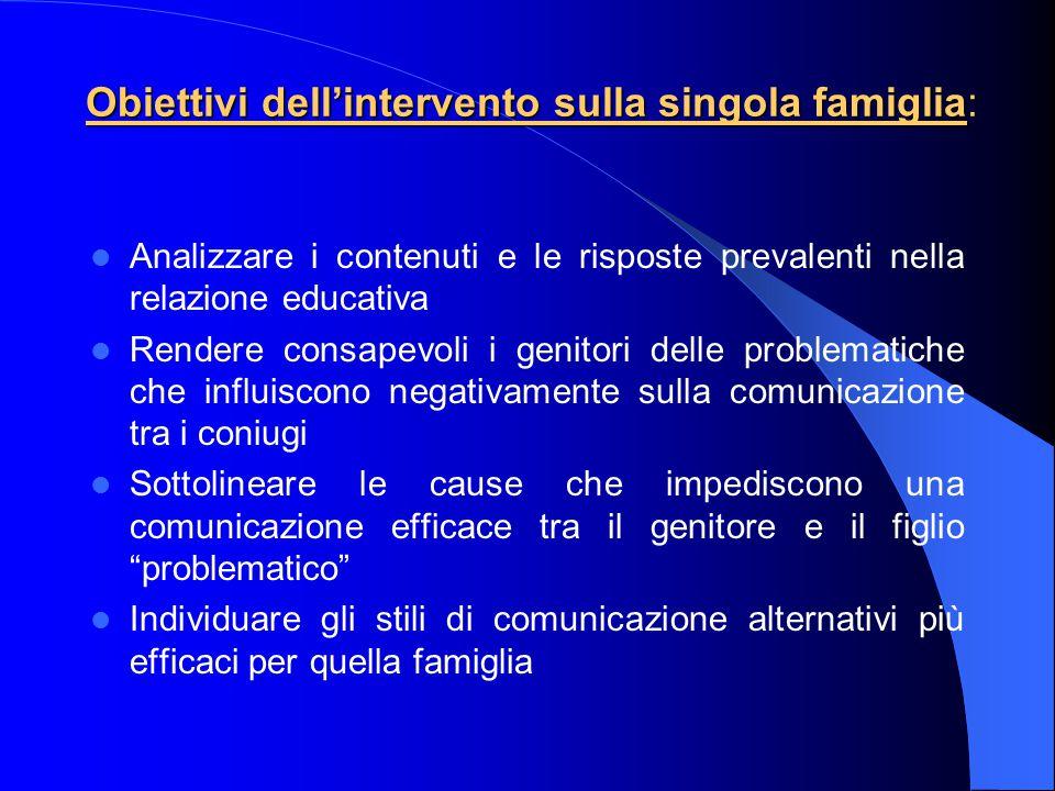 Obiettivi dell'intervento sulla singola famiglia: