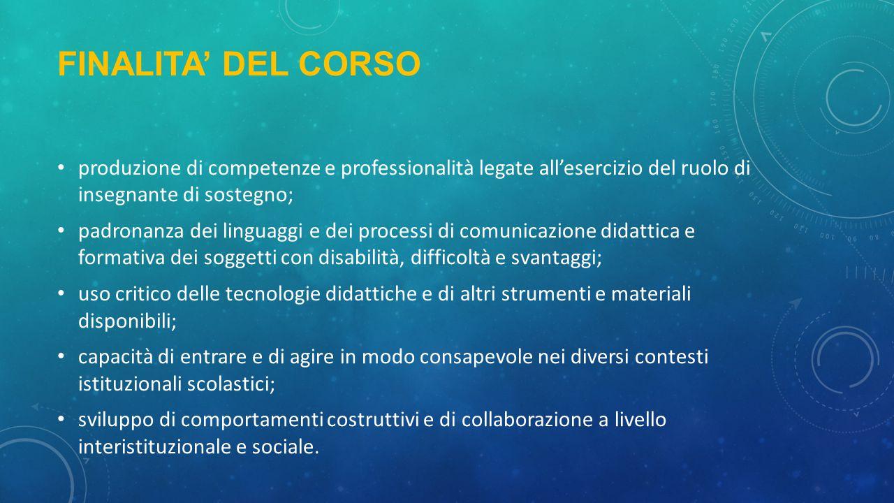 FINALITA' DEL CORSO produzione di competenze e professionalità legate all'esercizio del ruolo di insegnante di sostegno;