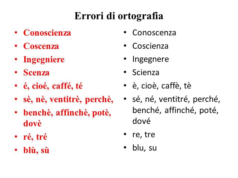 Errori di ortografia Conoscienza Coscenza Ingegniere Scenza