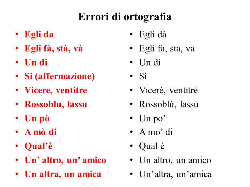 Errori di ortografia Egli da Egli fà, stà, và Un di Si (affermazione)