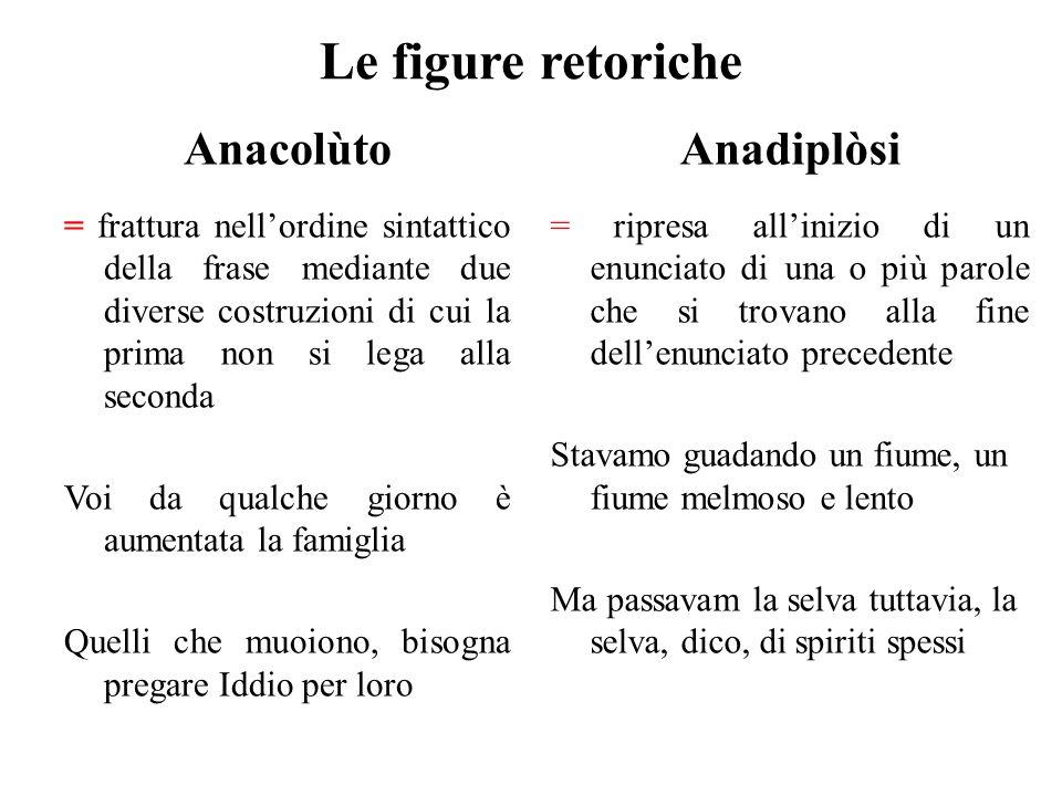 Le figure retoriche Anacolùto Anadiplòsi