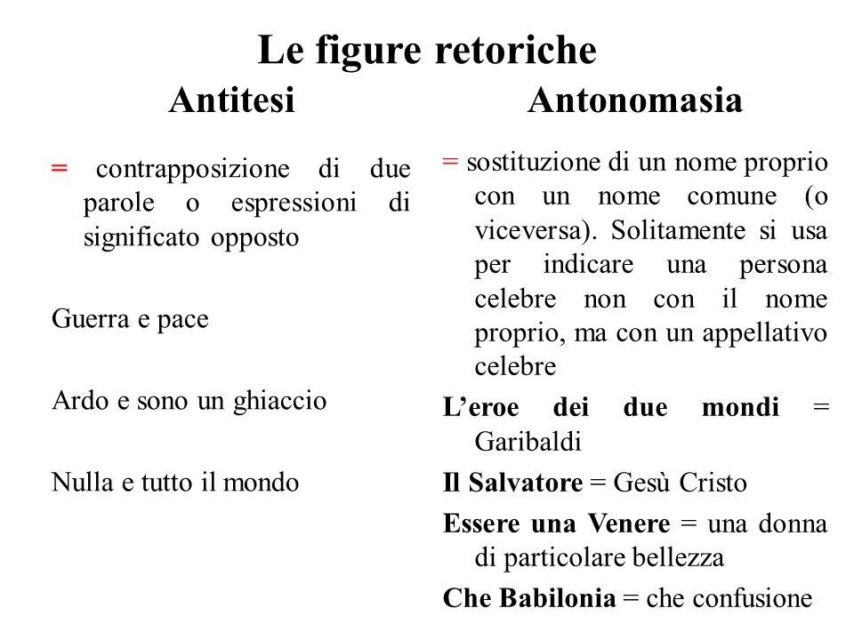 Le figure retoriche Antitesi Antonomasia