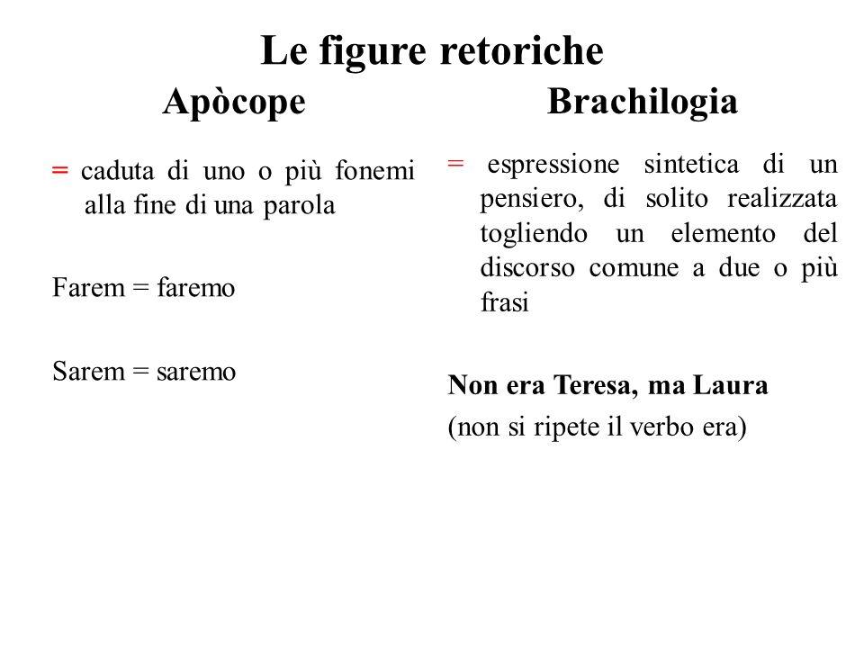 Le figure retoriche Apòcope Brachilogia