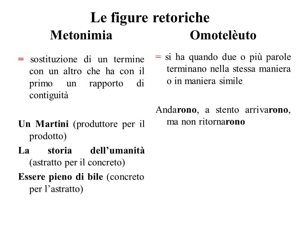 Le figure retoriche Metonimia Omotelèuto