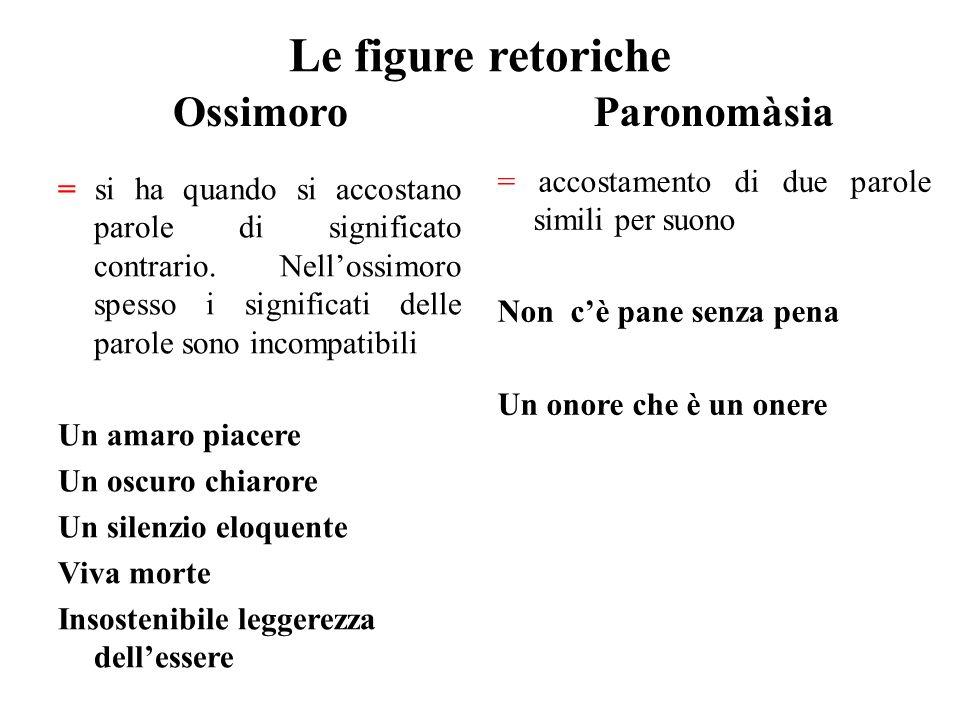 Le figure retoriche Ossimoro Paronomàsia