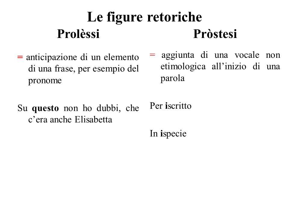 Le figure retoriche Prolèssi Pròstesi