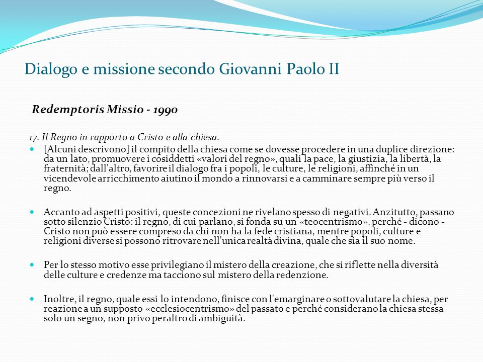 Dialogo e missione secondo Giovanni Paolo II