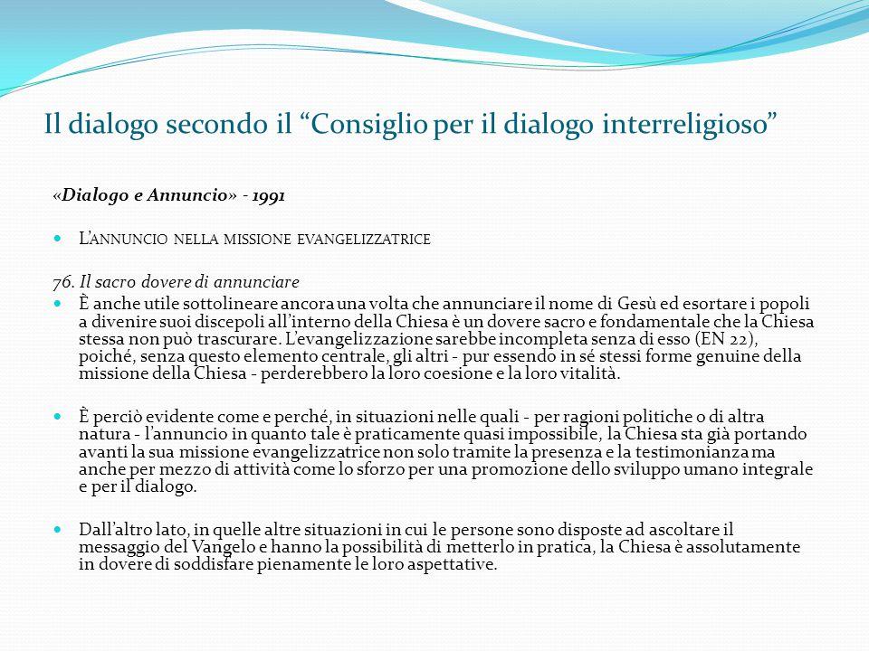 Il dialogo secondo il Consiglio per il dialogo interreligioso