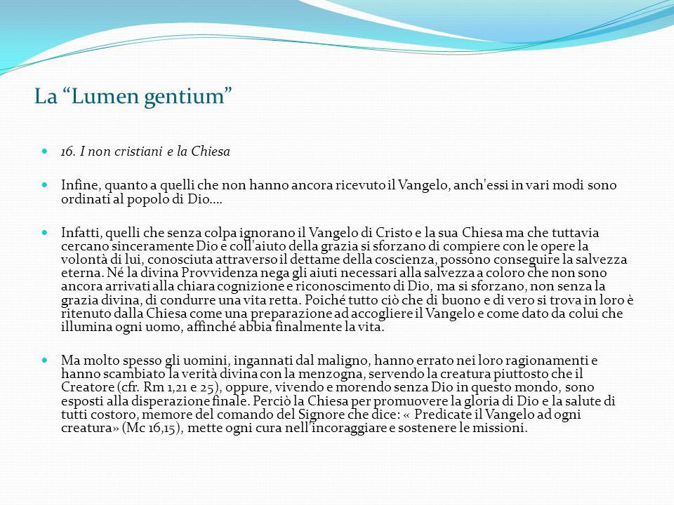 La Lumen gentium 16. I non cristiani e la Chiesa