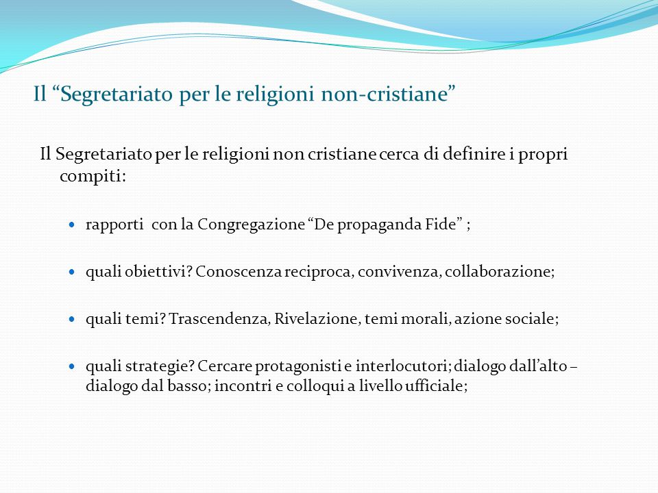 Il Segretariato per le religioni non-cristiane