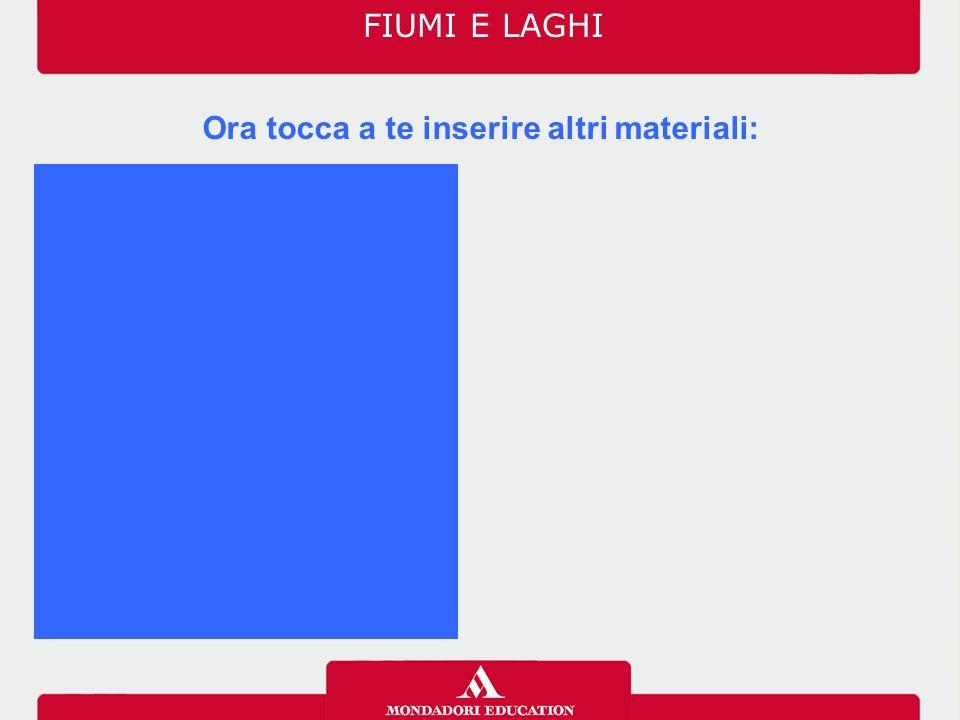 FIUMI E LAGHI Ora tocca a te inserire altri materiali: